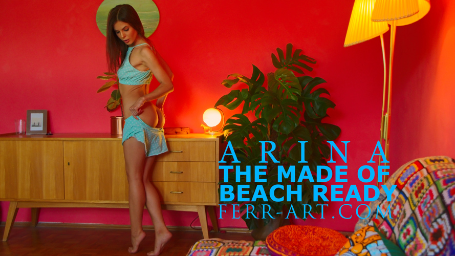 ferr-art.com Arina The made of beach ready cover image, nude photo shoot behind the scene, her panties down showing her bubble butt